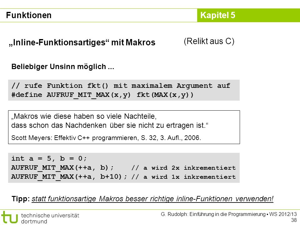 """Inline-Funktionsartiges mit Makros (Relikt aus C)"