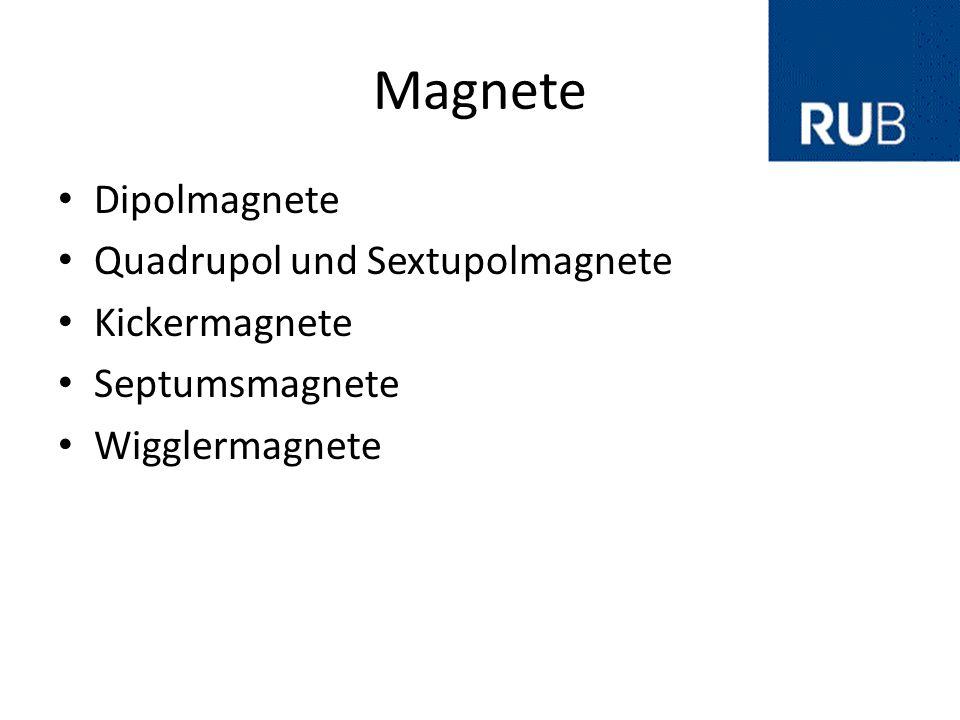 Magnete Dipolmagnete Quadrupol und Sextupolmagnete Kickermagnete