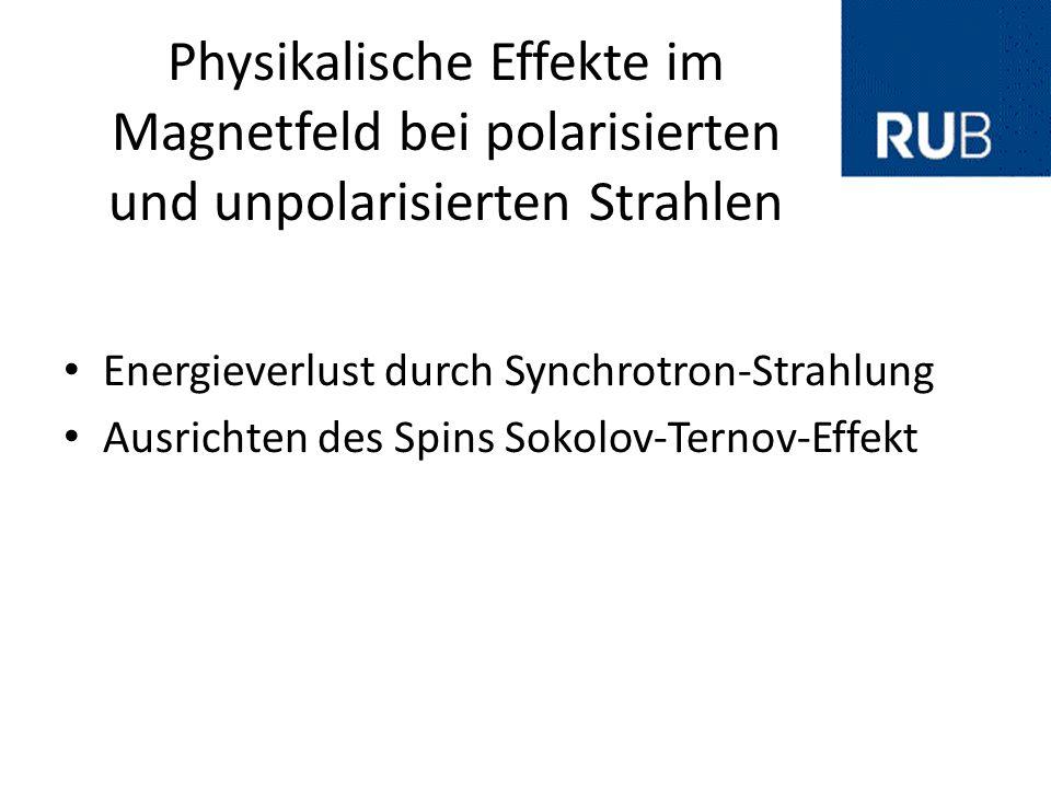 Physikalische Effekte im Magnetfeld bei polarisierten und unpolarisierten Strahlen
