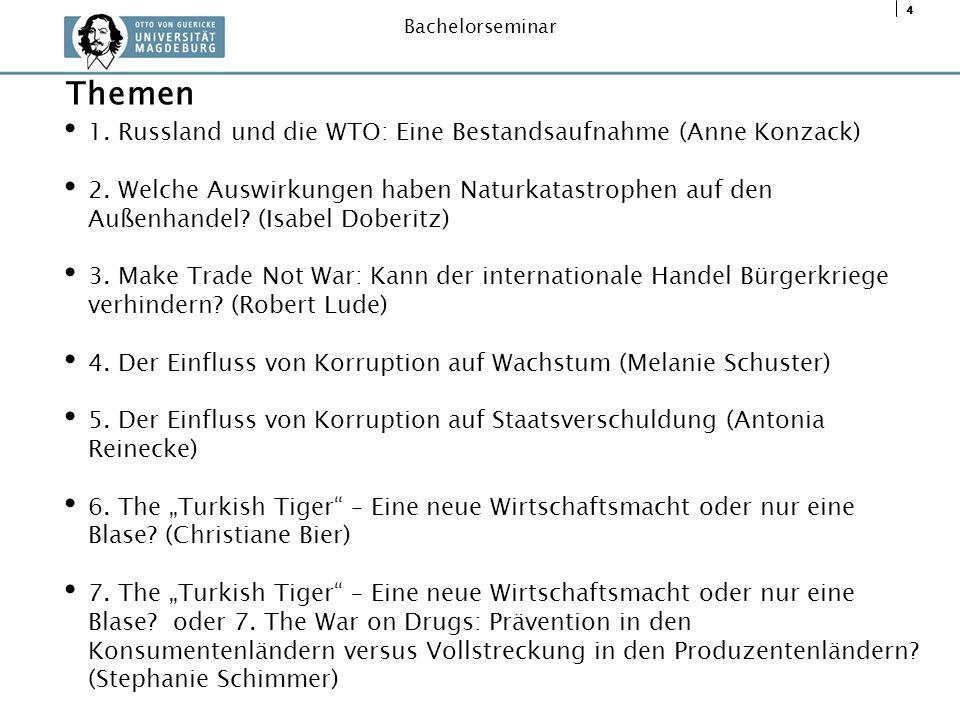 Themen 1. Russland und die WTO: Eine Bestandsaufnahme (Anne Konzack)