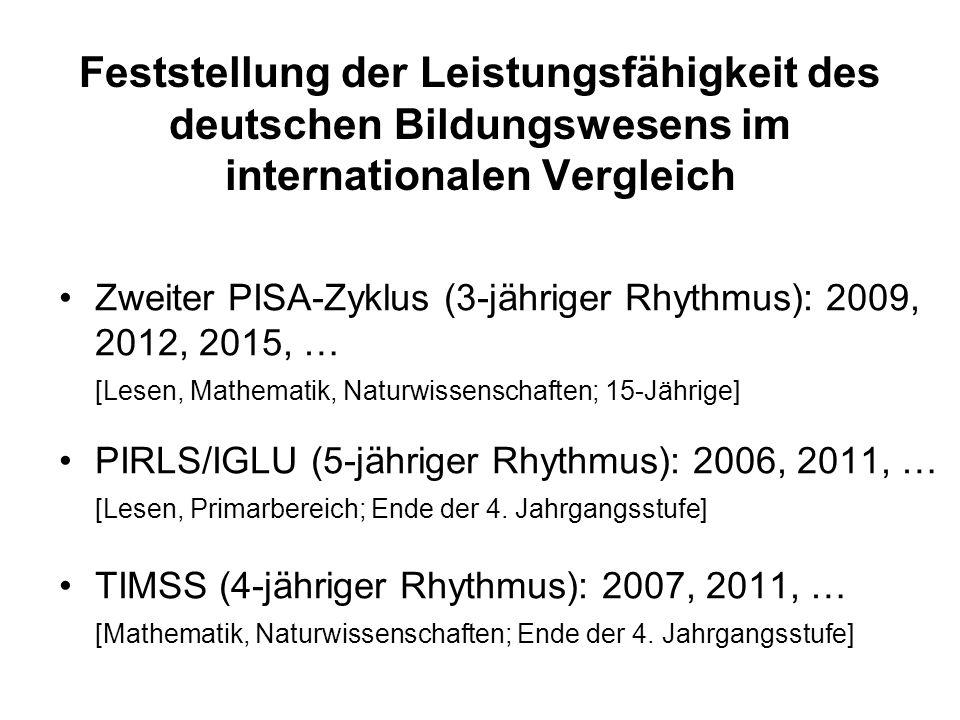 Feststellung der Leistungsfähigkeit des deutschen Bildungswesens im internationalen Vergleich
