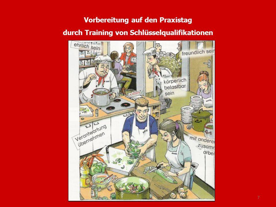 Vorbereitung auf den Praxistag durch Training von Schlüsselqualifikationen