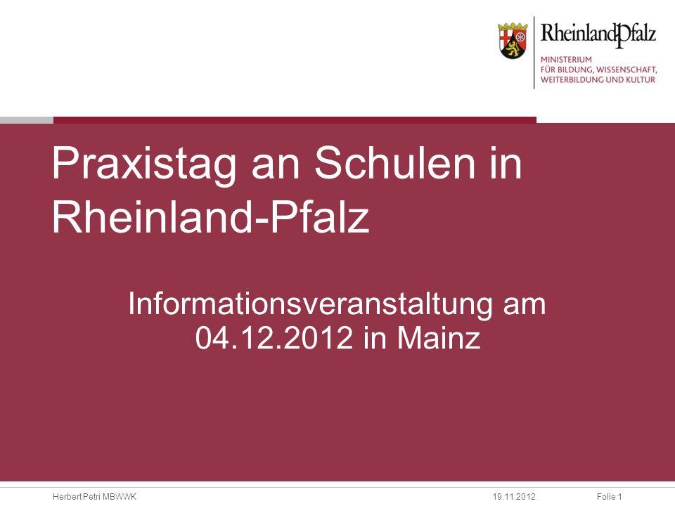 Praxistag an Schulen in Rheinland-Pfalz