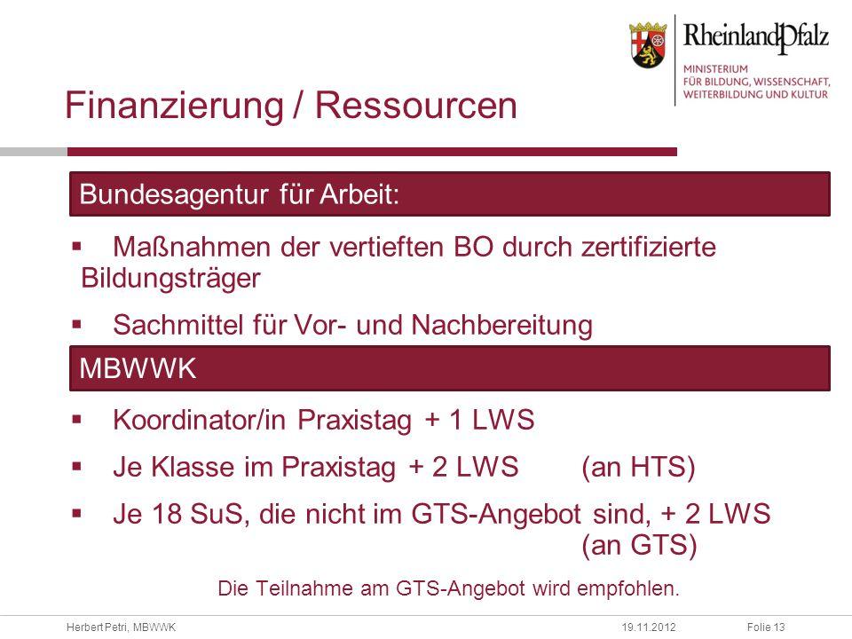 Finanzierung / Ressourcen