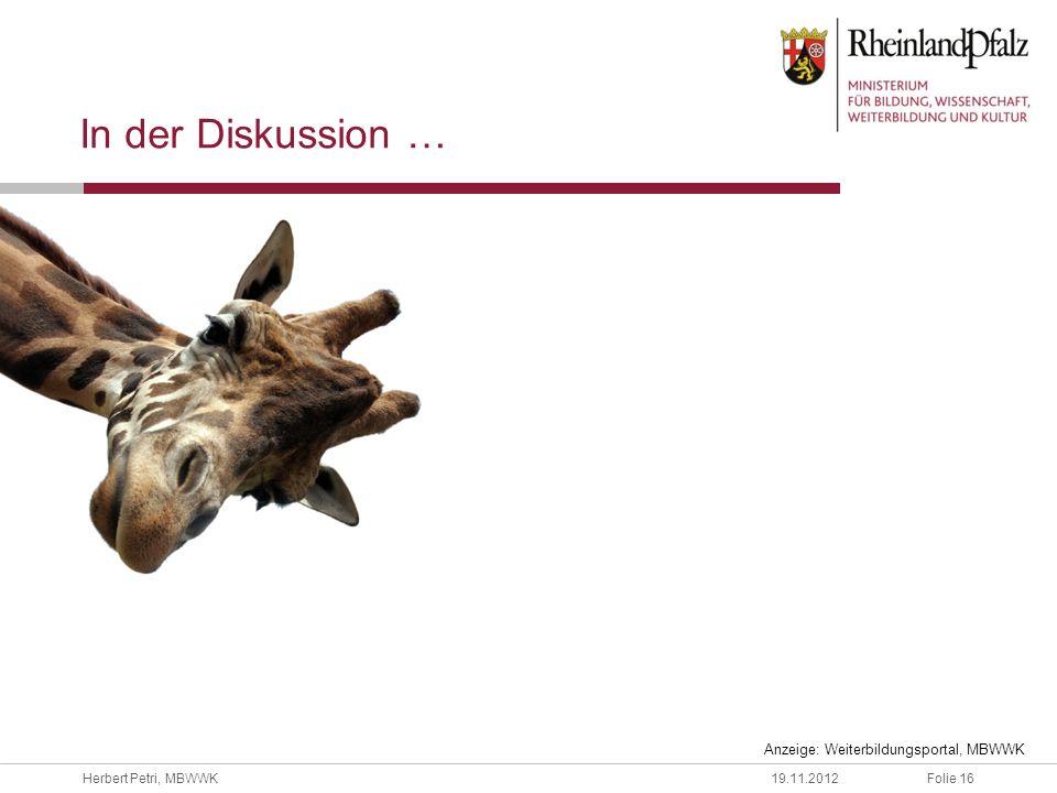 In der Diskussion … Anzeige: Weiterbildungsportal, MBWWK