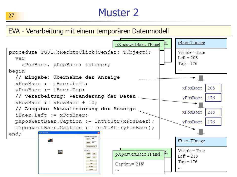 Muster 2 EVA - Verarbeitung mit einem temporären Datenmodell