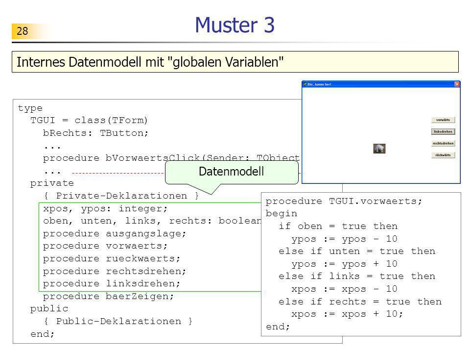 Muster 3 Internes Datenmodell mit globalen Variablen Datenmodell