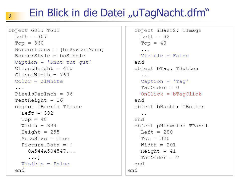 """Ein Blick in die Datei """"uTagNacht.dfm"""
