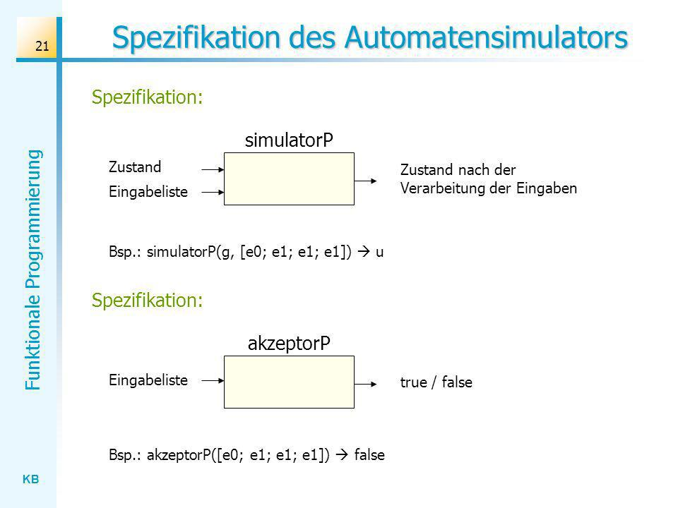Spezifikation des Automatensimulators