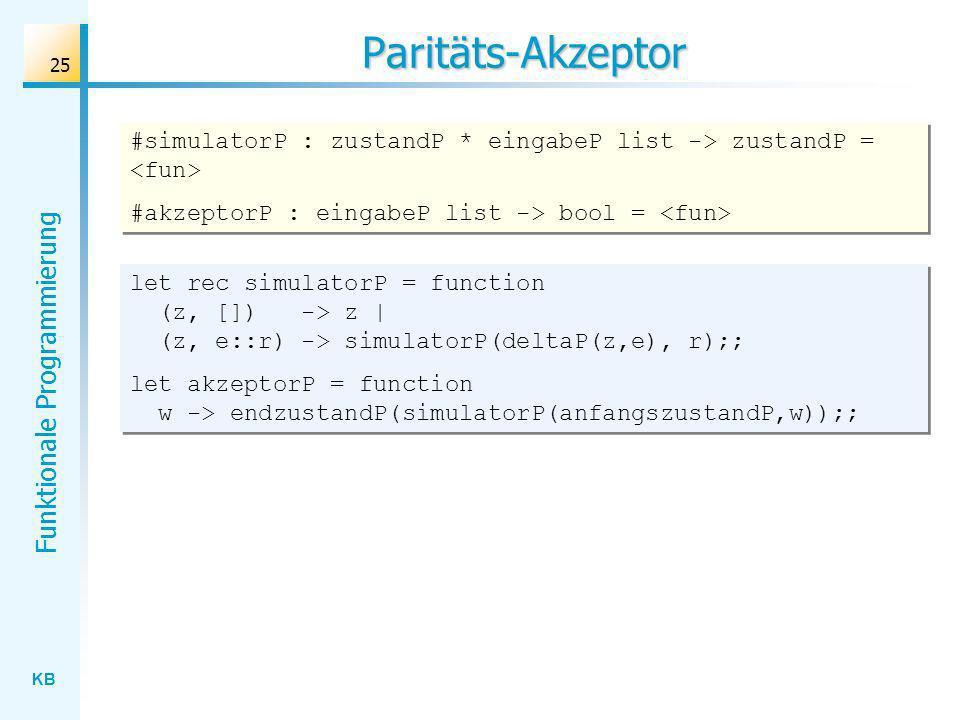 Paritäts-Akzeptor #simulatorP : zustandP * eingabeP list -> zustandP = <fun> #akzeptorP : eingabeP list -> bool = <fun>