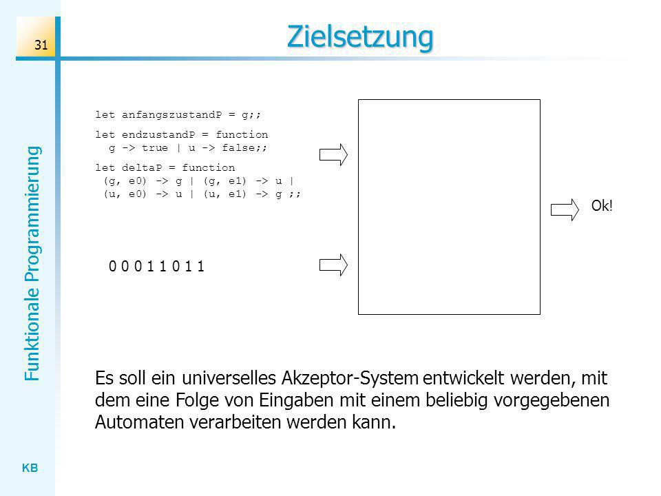 Zielsetzung let anfangszustandP = g;; let endzustandP = function g -> true | u -> false;;