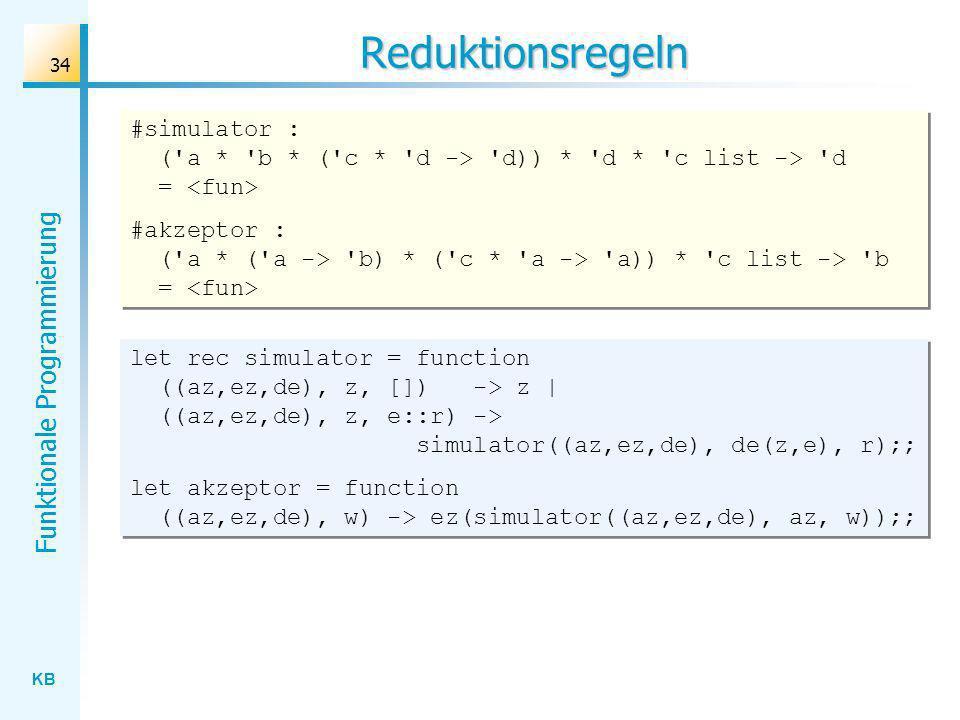 Reduktionsregeln #simulator : ( a * b * ( c * d -> d)) * d * c list -> d = <fun>