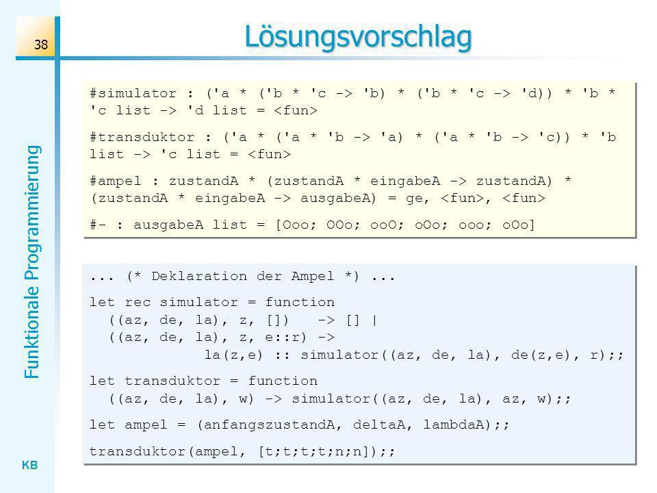 Lösungsvorschlag #simulator : ( a * ( b * c -> b) * ( b * c -> d)) * b * c list -> d list = <fun>