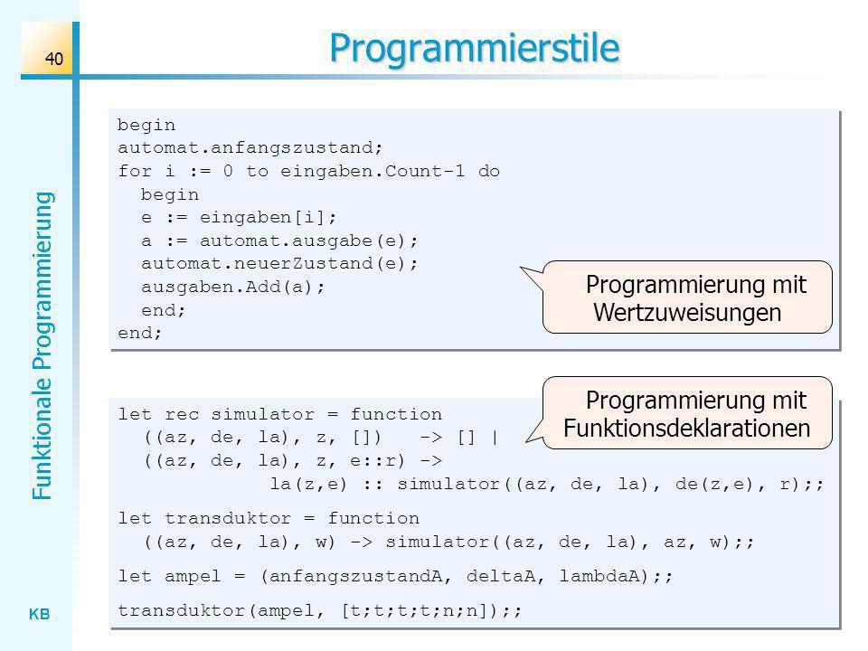 Programmierstile Programmierung mit Wertzuweisungen