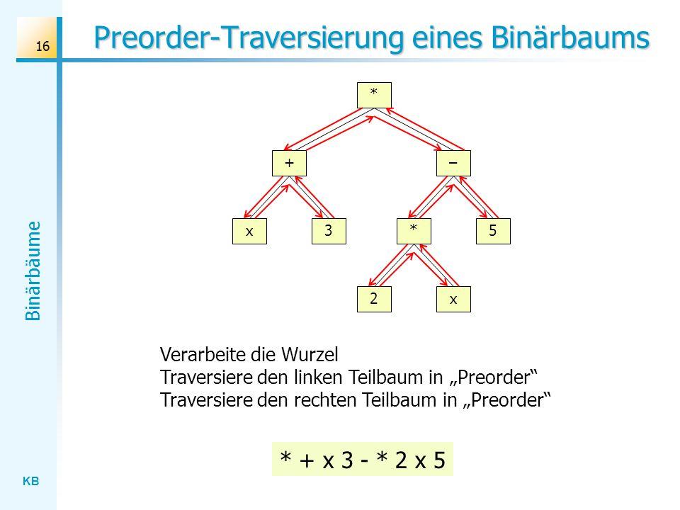 Preorder-Traversierung eines Binärbaums