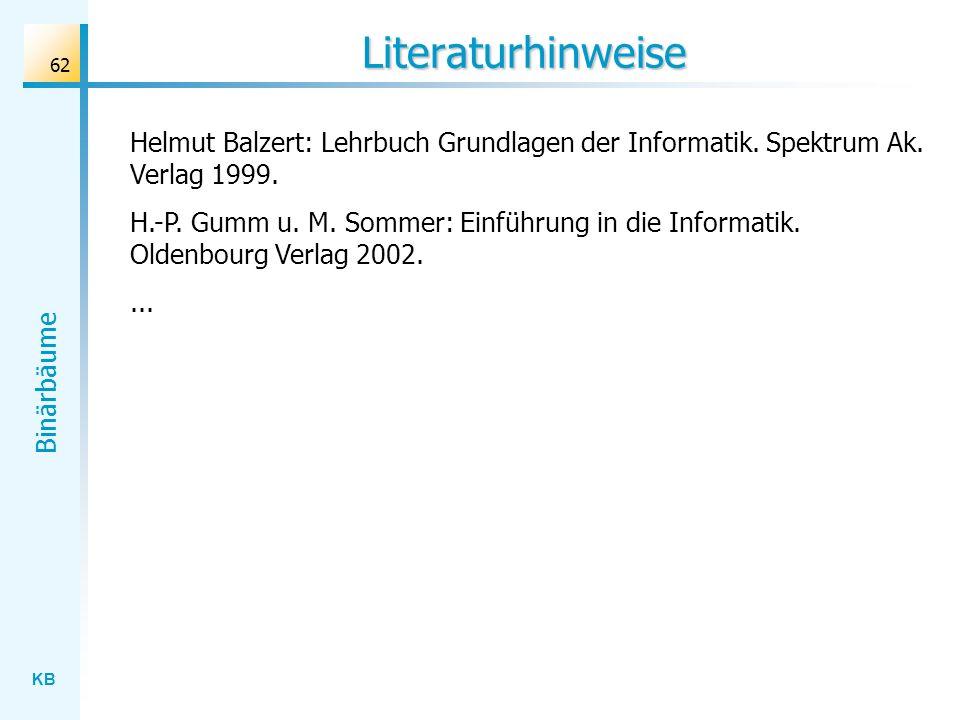 Literaturhinweise Helmut Balzert: Lehrbuch Grundlagen der Informatik. Spektrum Ak. Verlag 1999.
