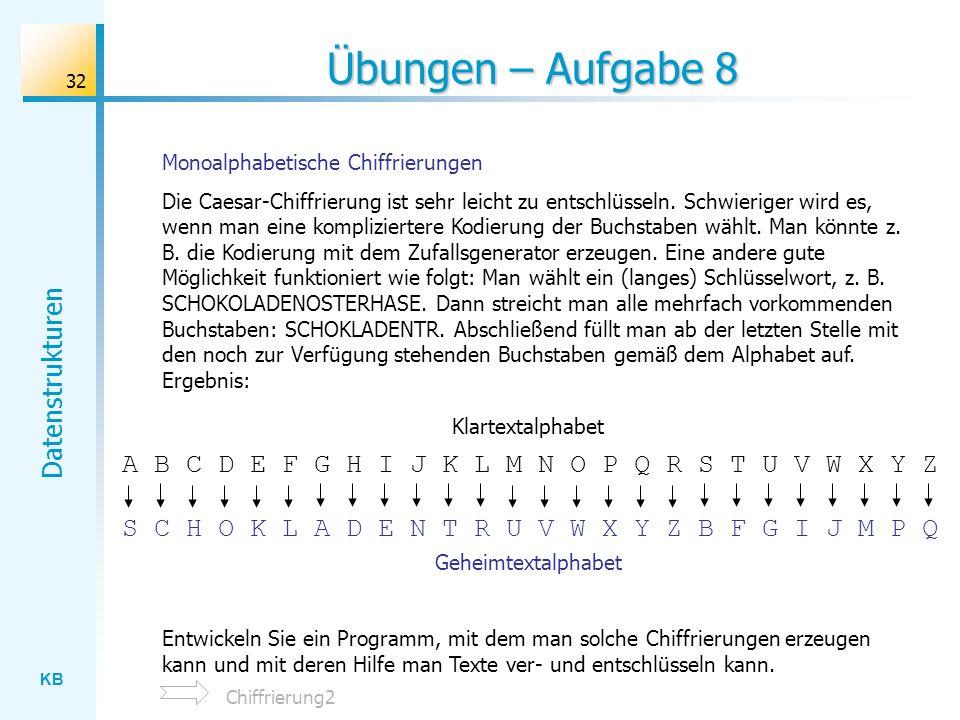 Übungen – Aufgabe 8 Monoalphabetische Chiffrierungen.