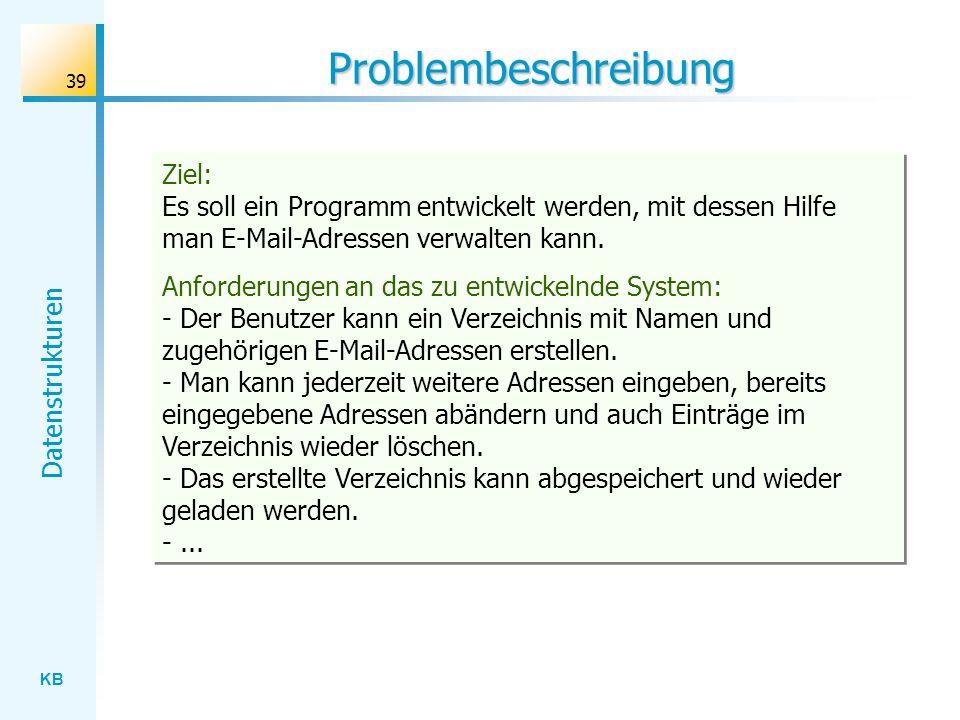 Problembeschreibung Ziel: Es soll ein Programm entwickelt werden, mit dessen Hilfe man E-Mail-Adressen verwalten kann.