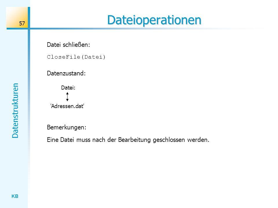 Dateioperationen Datei schließen: CloseFile(Datei) Datenzustand: