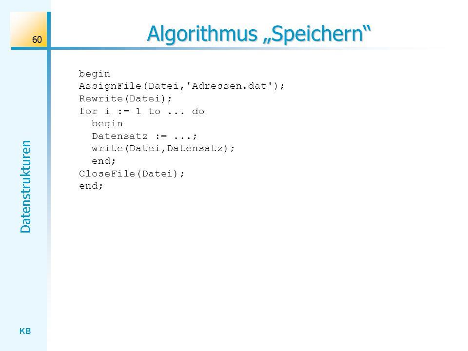 """Algorithmus """"Speichern"""