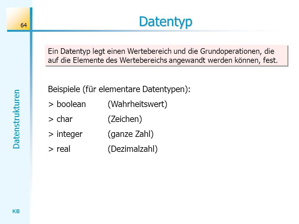 Datentyp Beispiele (für elementare Datentypen):