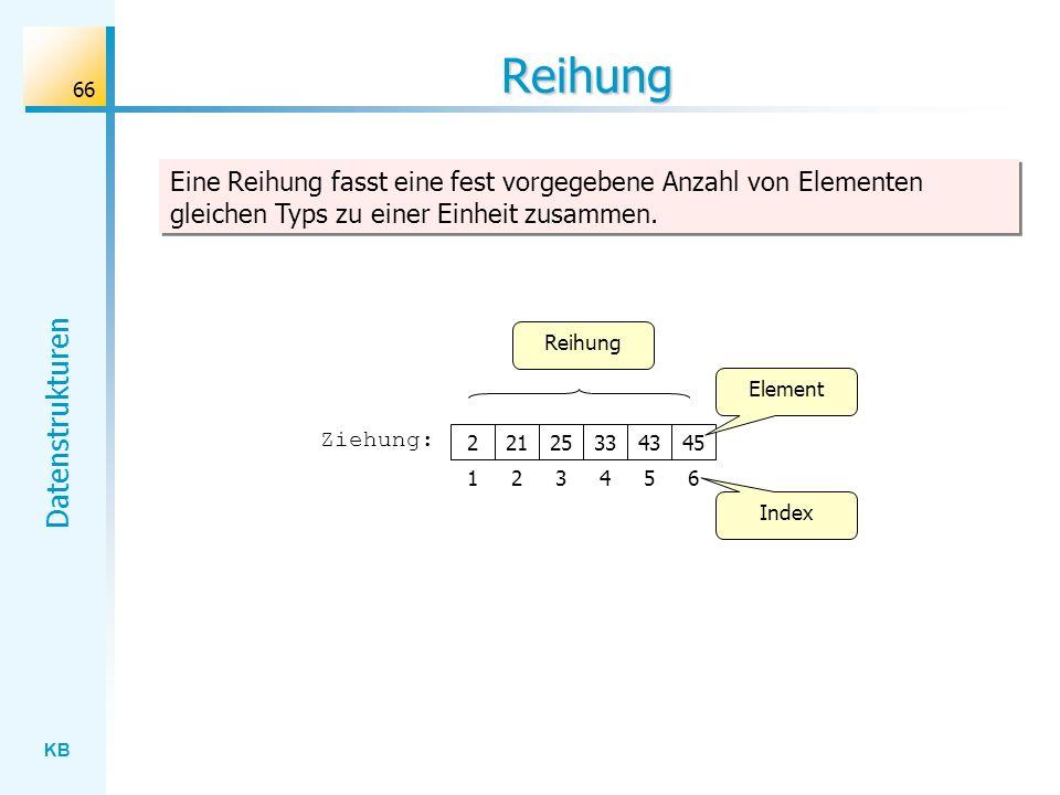 Reihung Eine Reihung fasst eine fest vorgegebene Anzahl von Elementen gleichen Typs zu einer Einheit zusammen.