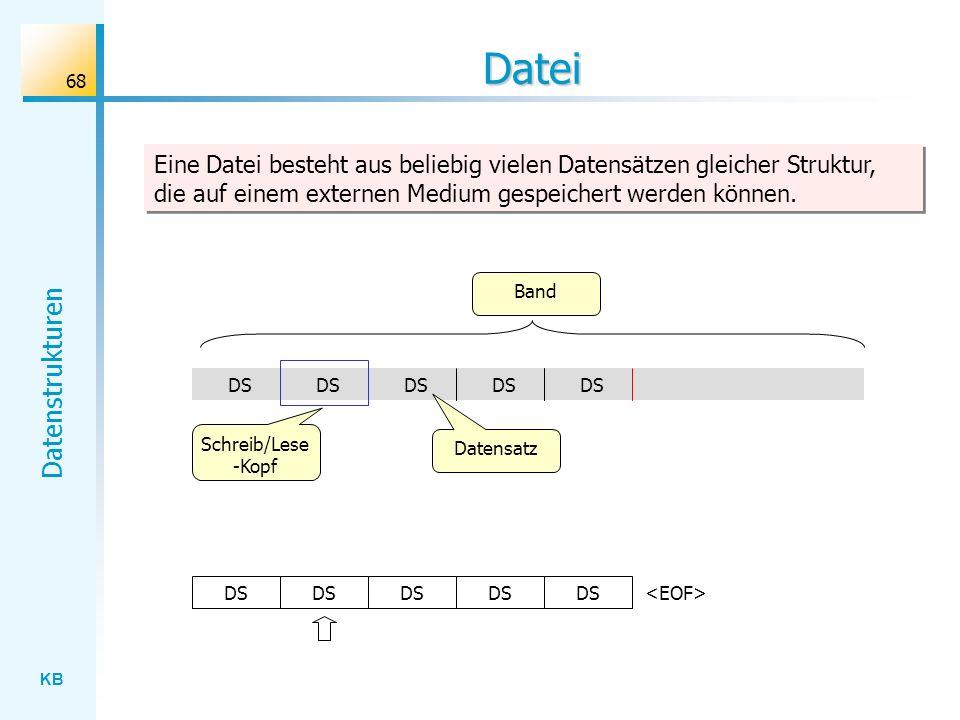 Datei Eine Datei besteht aus beliebig vielen Datensätzen gleicher Struktur, die auf einem externen Medium gespeichert werden können.