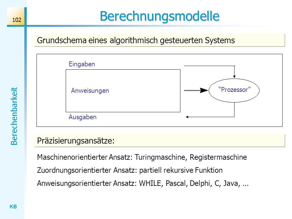 Berechnungsmodelle Grundschema eines algorithmisch gesteuerten Systems