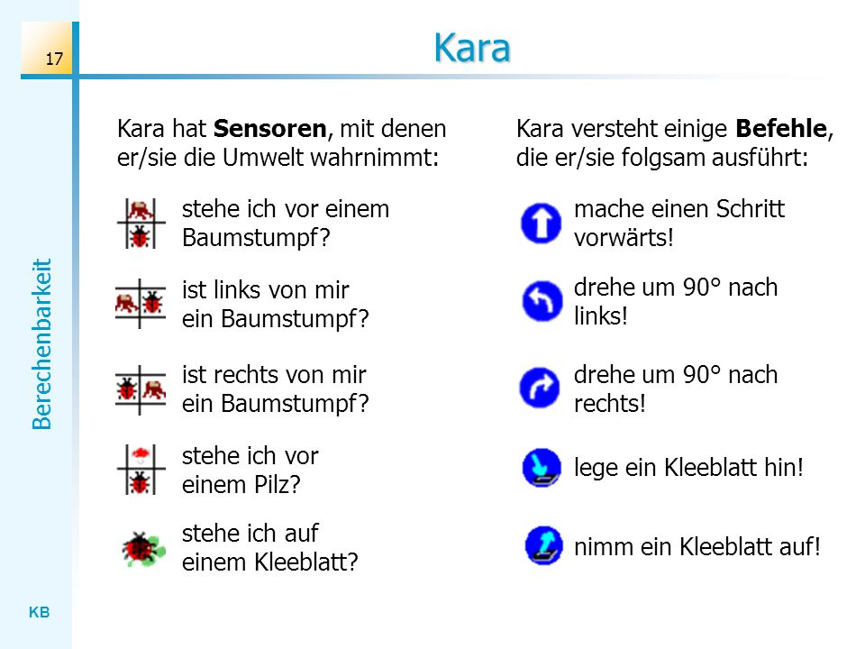 Kara Kara hat Sensoren, mit denen er/sie die Umwelt wahrnimmt: