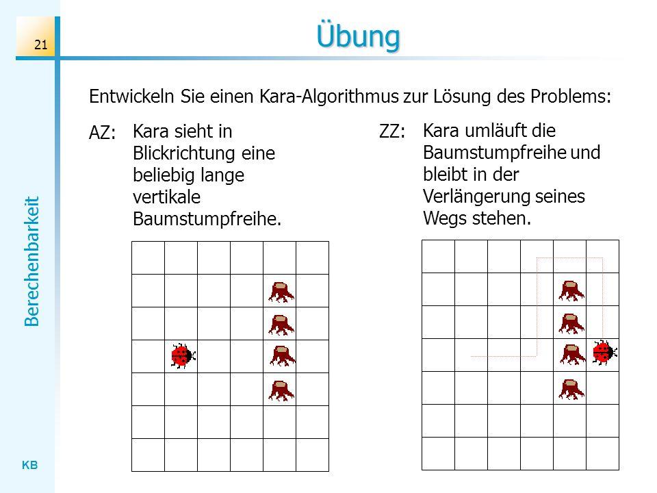 Übung Entwickeln Sie einen Kara-Algorithmus zur Lösung des Problems: