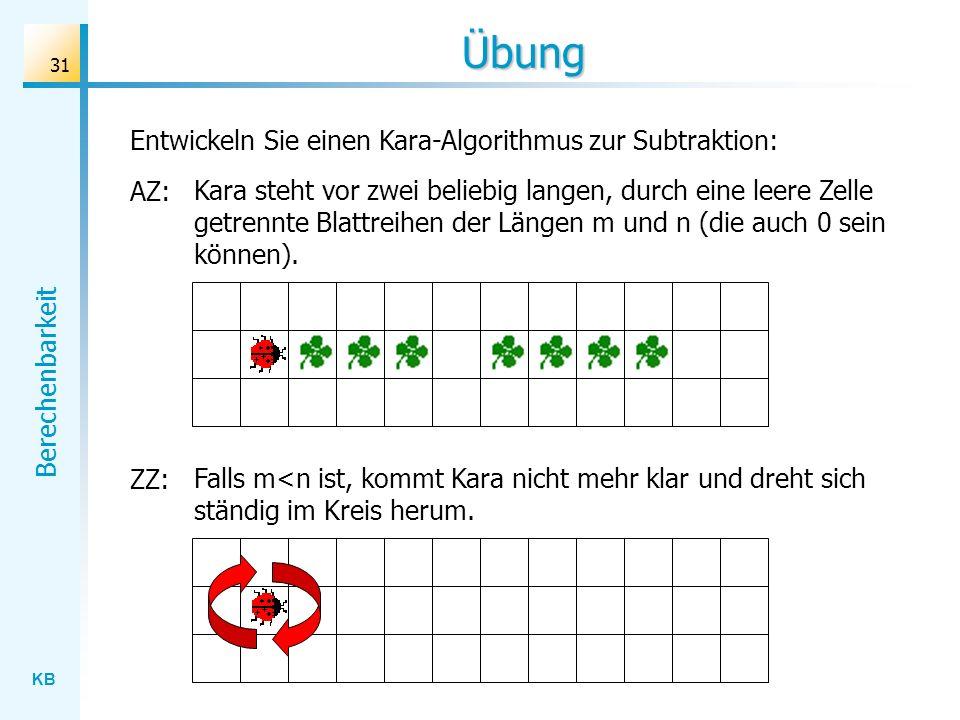 Übung Entwickeln Sie einen Kara-Algorithmus zur Subtraktion: AZ: