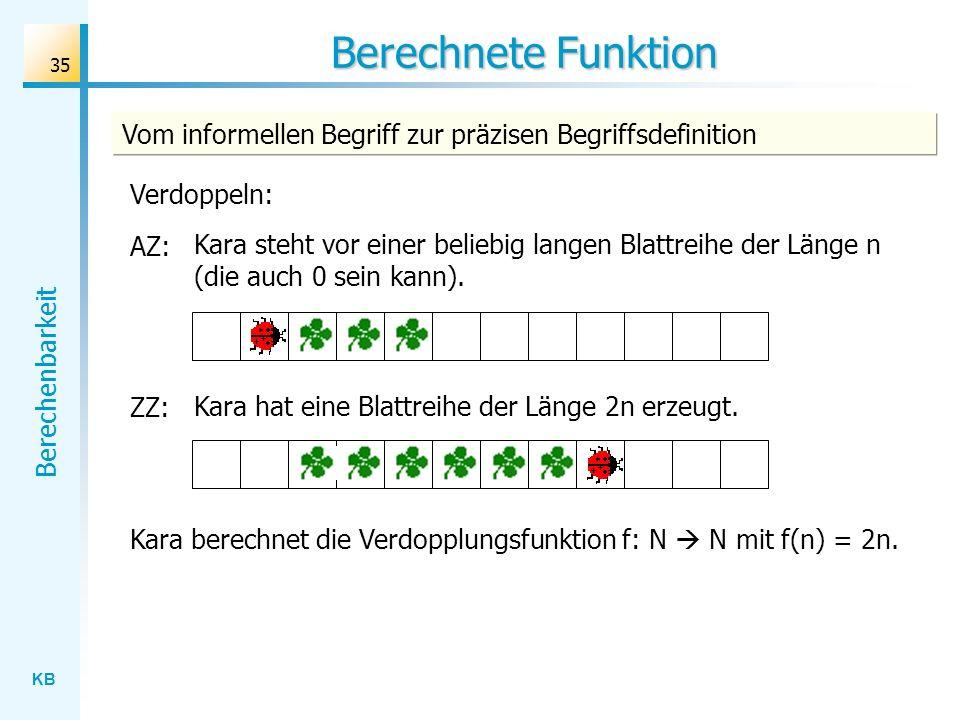 Berechnete Funktion Vom informellen Begriff zur präzisen Begriffsdefinition. Verdoppeln: AZ: