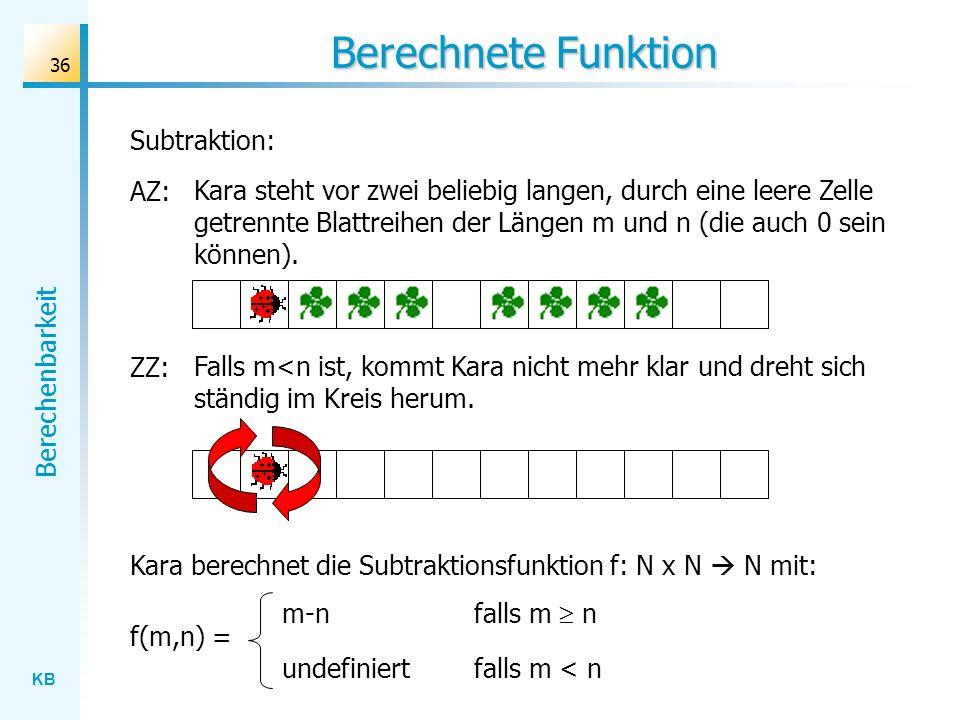 Berechnete Funktion Subtraktion: AZ: