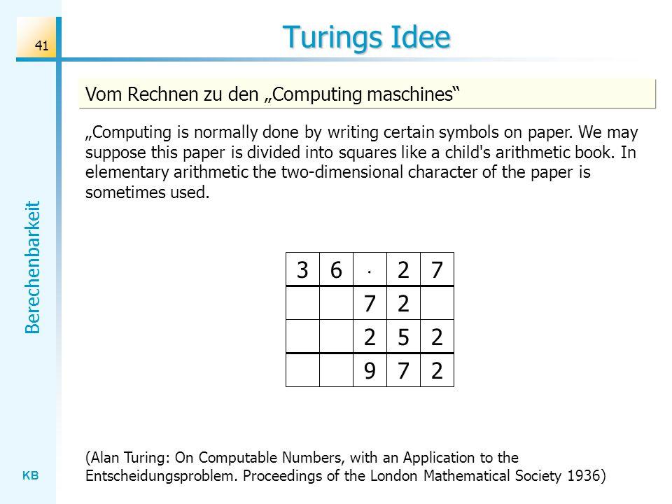 """Turings Idee Vom Rechnen zu den """"Computing maschines"""