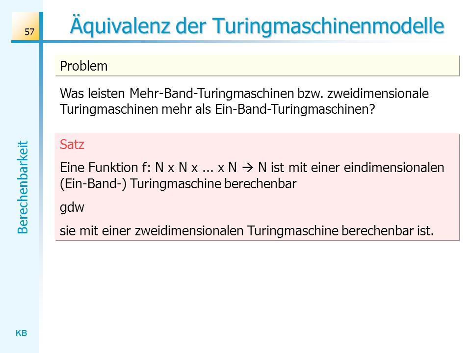 Äquivalenz der Turingmaschinenmodelle