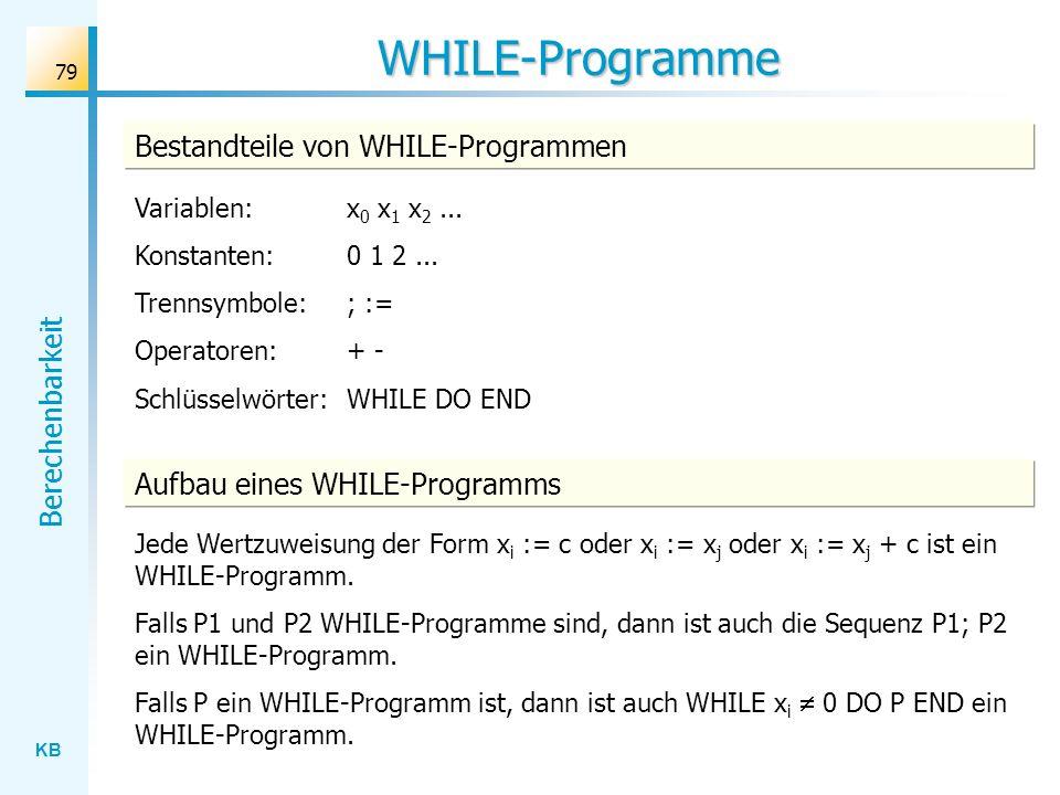 WHILE-Programme Bestandteile von WHILE-Programmen