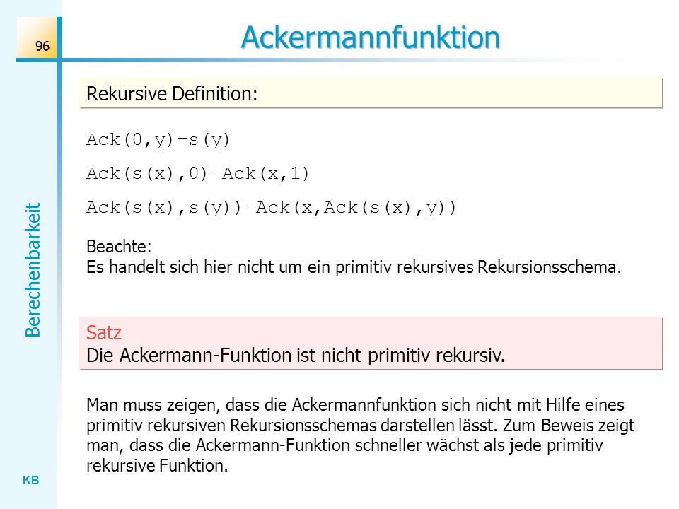Ackermannfunktion Rekursive Definition: Ack(0,y)=s(y)