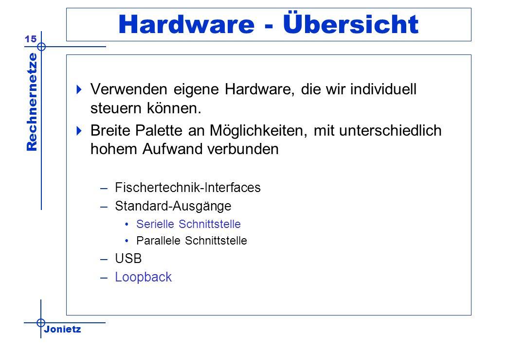 Hardware - Übersicht Verwenden eigene Hardware, die wir individuell steuern können.