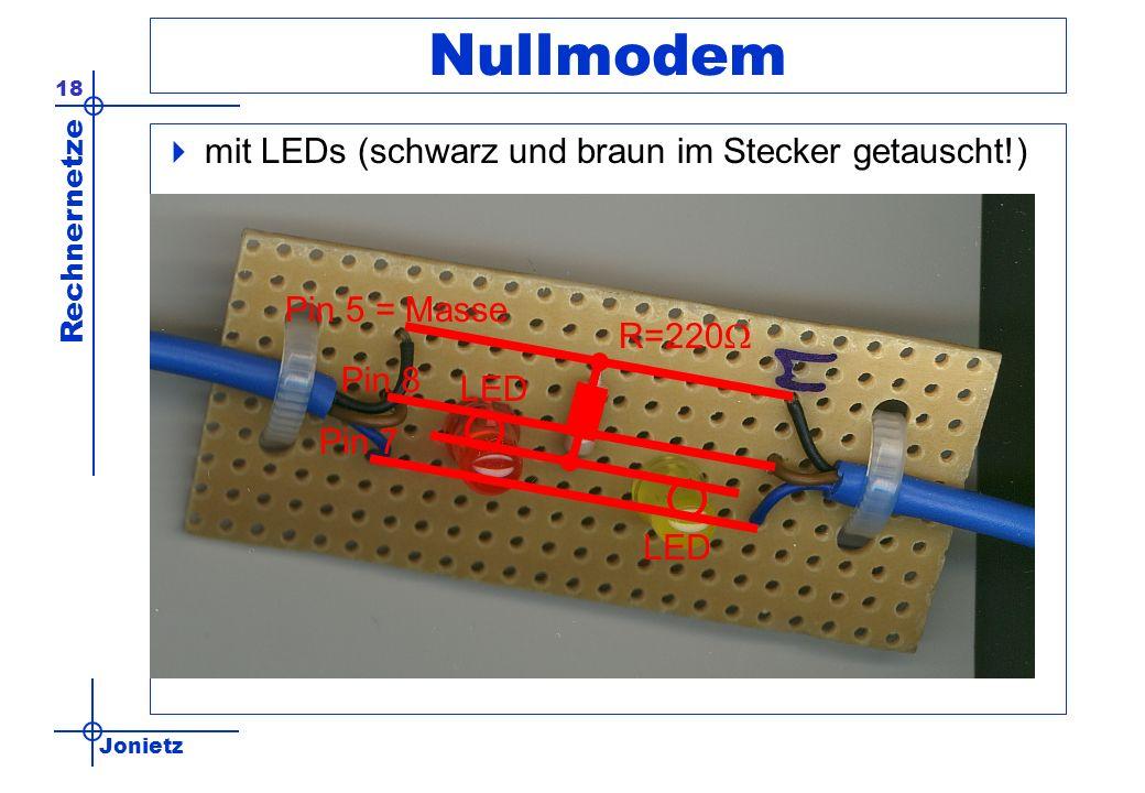 Nullmodem mit LEDs (schwarz und braun im Stecker getauscht!)