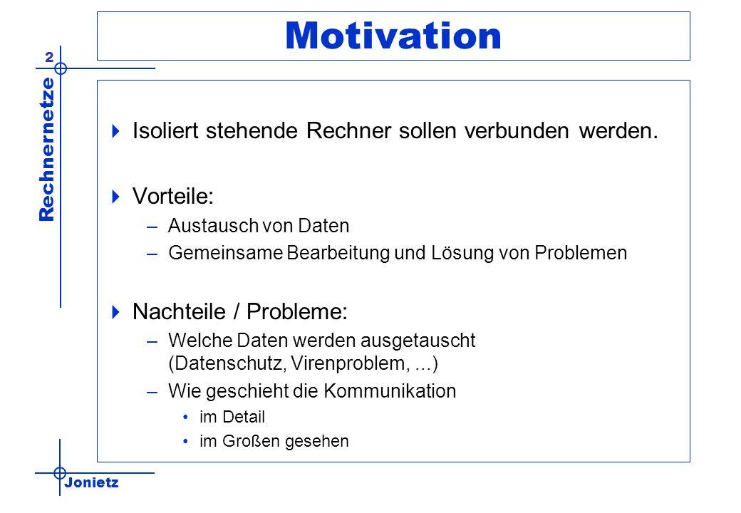 Motivation Isoliert stehende Rechner sollen verbunden werden.