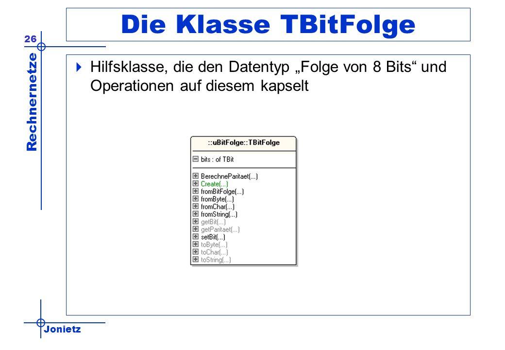 """Die Klasse TBitFolge Hilfsklasse, die den Datentyp """"Folge von 8 Bits und Operationen auf diesem kapselt."""