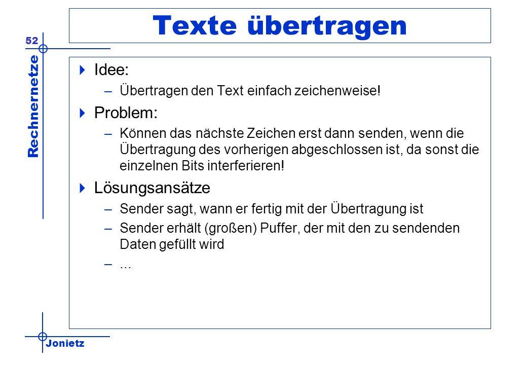 Texte übertragen Idee: Problem: Lösungsansätze