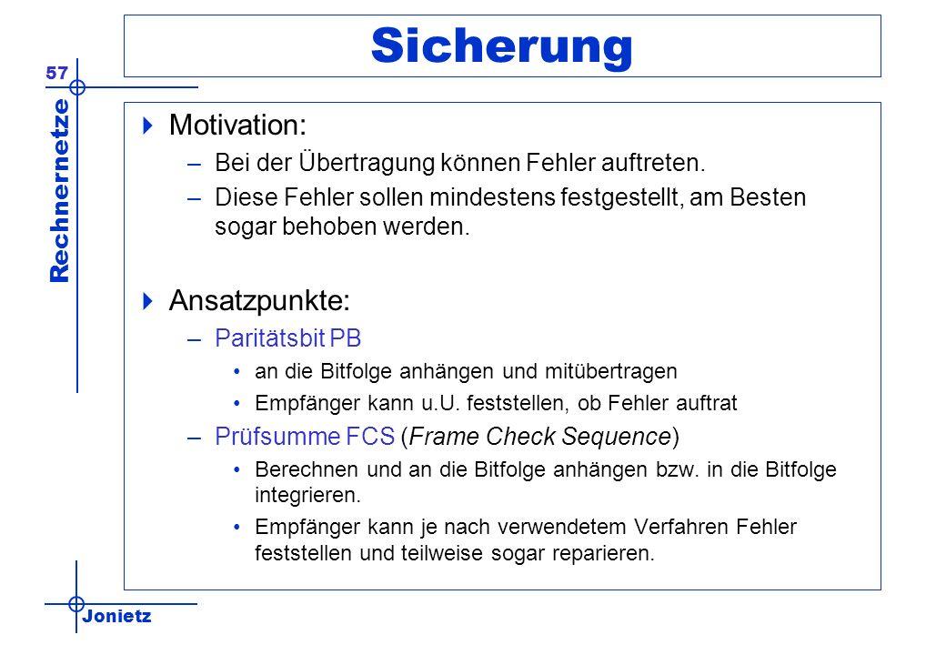 Sicherung Motivation: Ansatzpunkte: