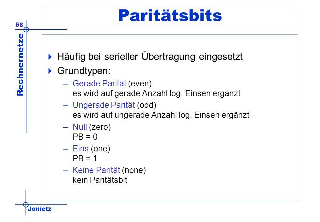Paritätsbits Häufig bei serieller Übertragung eingesetzt Grundtypen: