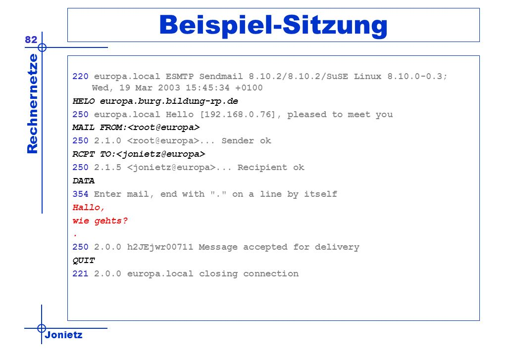 Beispiel-Sitzung 220 europa.local ESMTP Sendmail 8.10.2/8.10.2/SuSE Linux 8.10.0-0.3; Wed, 19 Mar 2003 15:45:34 +0100.