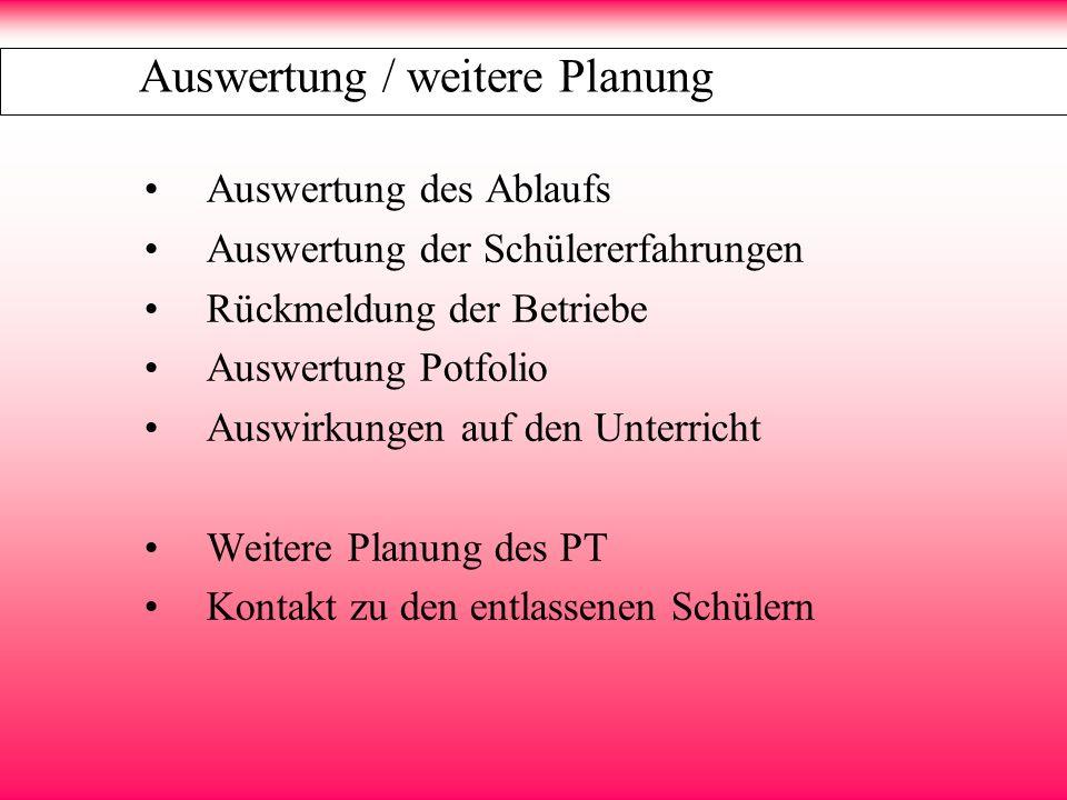 Auswertung / weitere Planung