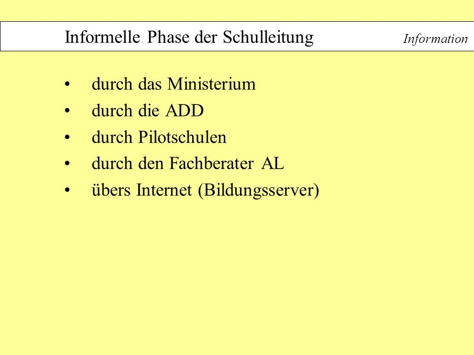 Informelle Phase der Schulleitung Information