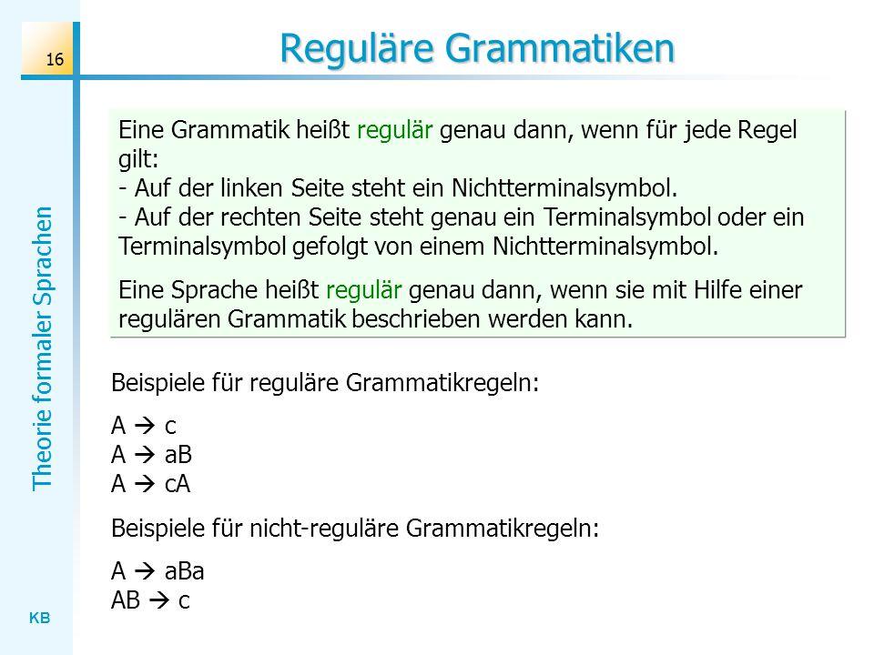 Reguläre Grammatiken