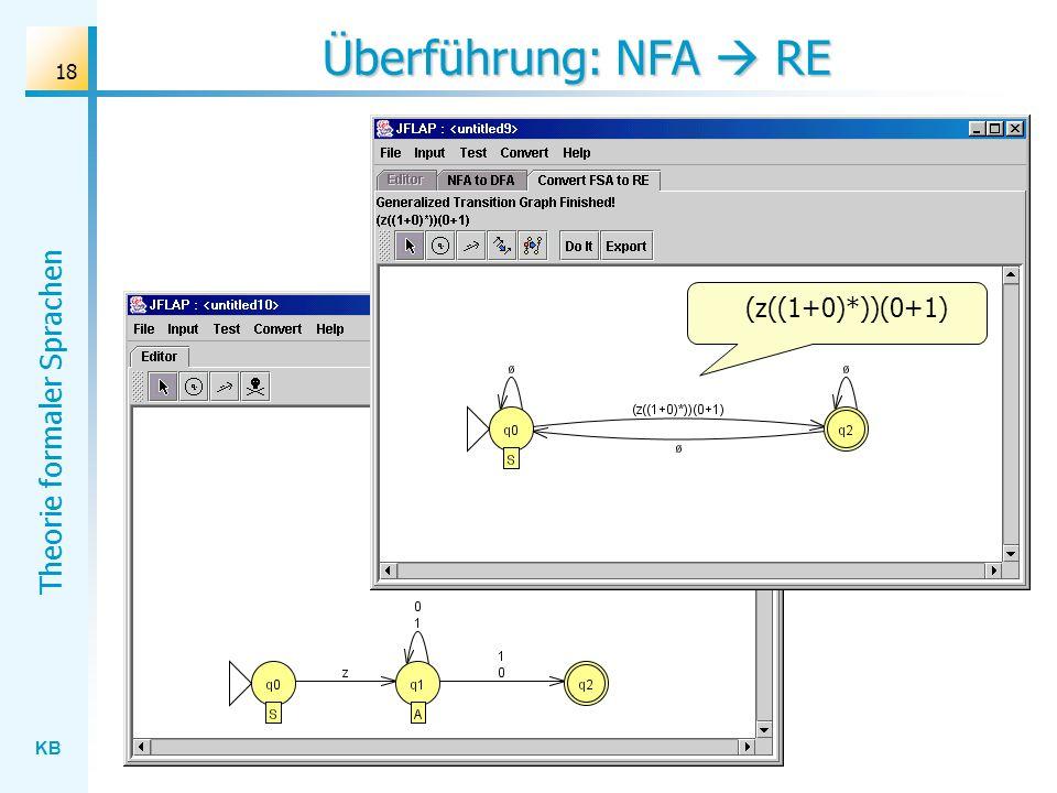 Überführung: NFA  RE (z((1+0)*))(0+1)