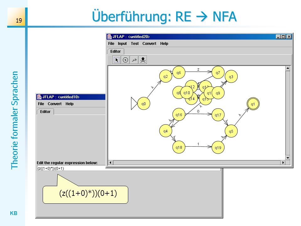 Überführung: RE  NFA (z((1+0)*))(0+1)